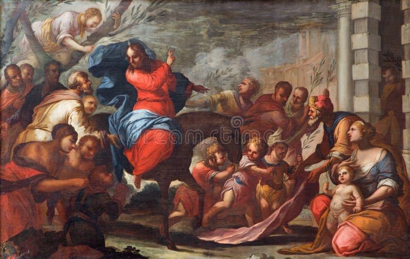 PADUA, ITALIË - SEPTEMBER 10, 2014: Verf van de ingang van Jesus in Jeruzalem (Palmzondag) in de kerk Chiesa Di San Gaetano stock foto
