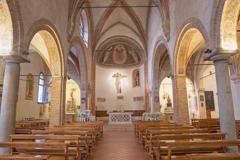 PADUA, ITALY - SEPTEMBER 8, 2014: The nave of church church of st. Nicholas.  royalty free stock photos