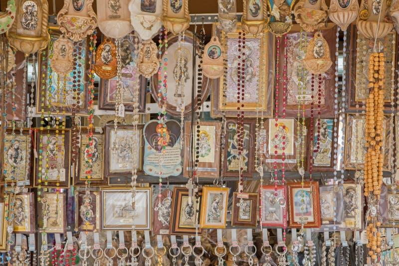 PADUA, ITALY - SEPTEMBER 10, 2014: The religion Souvenirs from Basilica of st. Antony of Padua royalty free stock photos
