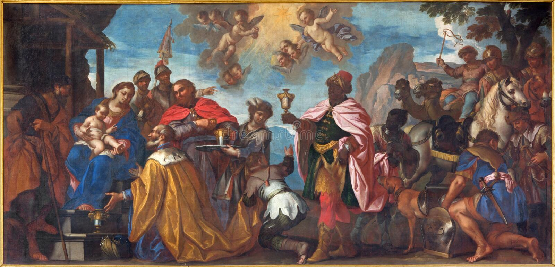 Padua - The paint of the Adoration of Magi scene in Cathedral of Santa Maria Assunta (Duomo). PADUA, ITALY - SEPTEMBER 8, 2014: The paint of the Adoration of royalty free stock photos