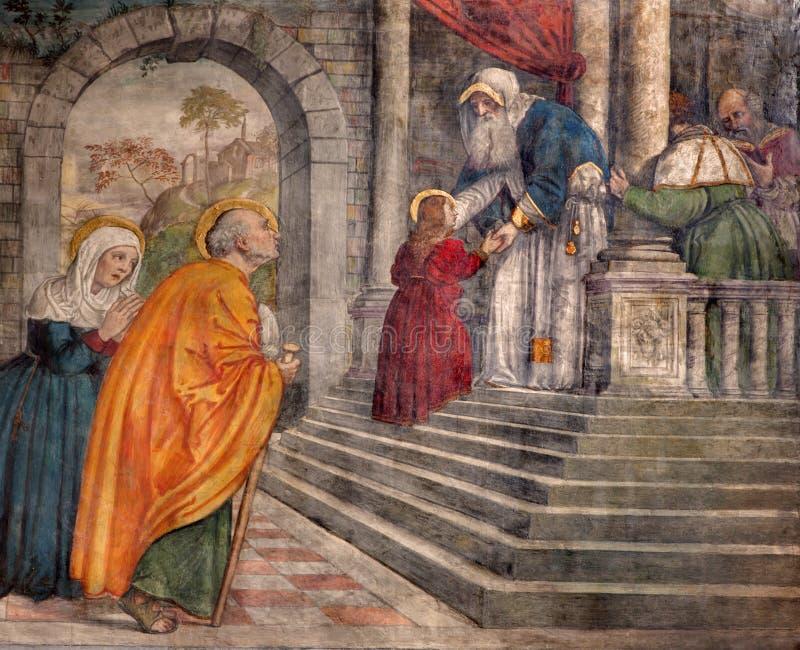 Padua - Presentation in the Temple fresco in the church San Francesco del Grande in chapel Cappella di Santa Maria della Carita. PADUA, ITALY - SEPTEMBER 8, 2014 royalty free stock photos