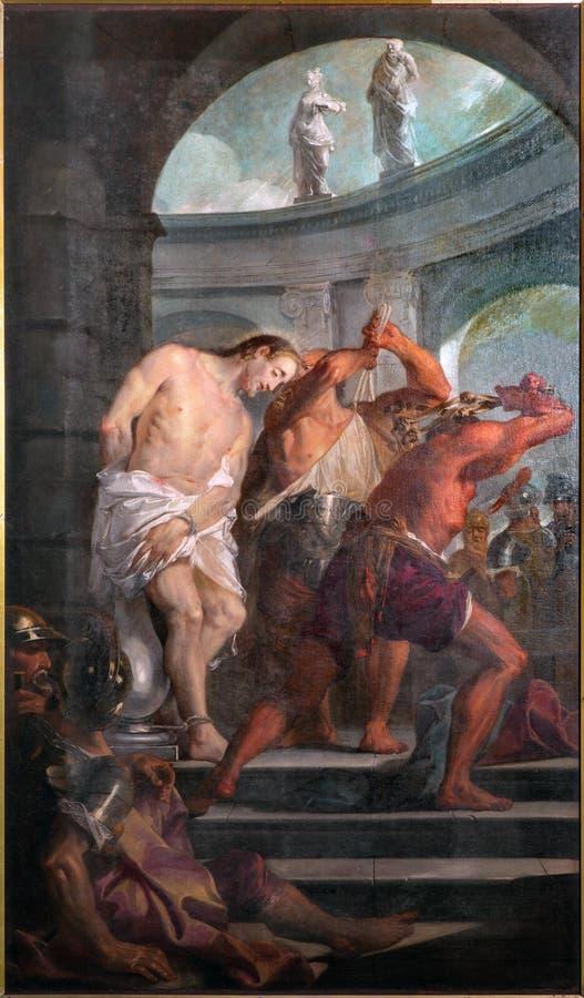 Padua - Verf van de Flagellatie van Jesus in de kerk Chiesa Di San Gaetano royalty-vrije stock afbeeldingen