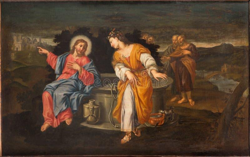 Padua - Verf van Jesus en Samaritanen bij goed scène in de kerk Chiesa Di San Gaetano en de kapel van de Kruisiging royalty-vrije stock foto