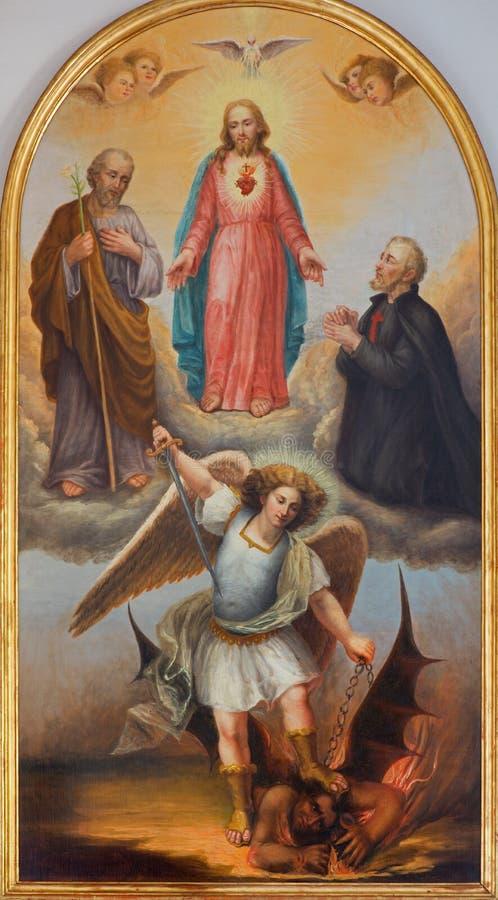 Padus - het Hart van Jesus, aartsengel Michael en andere heiligen van 19 cent in Di Santa Maria del Torresino van kerkchiesa stock afbeeldingen