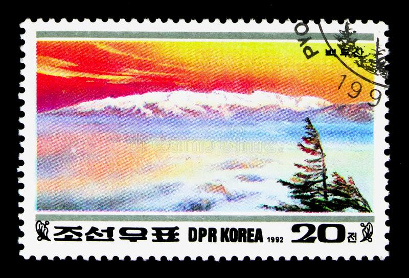 Paektu, 50th Birthday of Kim Jong Il: Paektu Mountains serie, circa 1992. MOSCOW, RUSSIA - NOVEMBER 24, 2017: A stamp printed in Democratic People`s republic of stock images