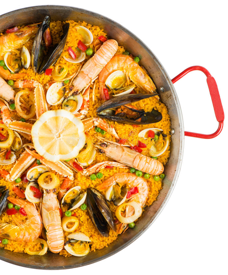 Paella - παραδοσιακά ισπανικά τρόφιμα, τοπ άποψη στοκ φωτογραφίες με δικαίωμα ελεύθερης χρήσης