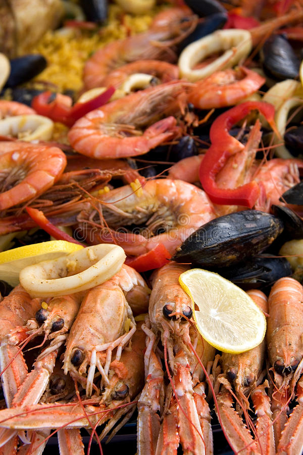 Paella. Fresh cooked paella for sale at a street market royalty free stock photo