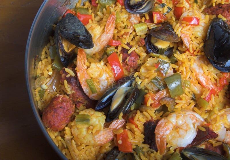 Paella. Pan of seafood paella