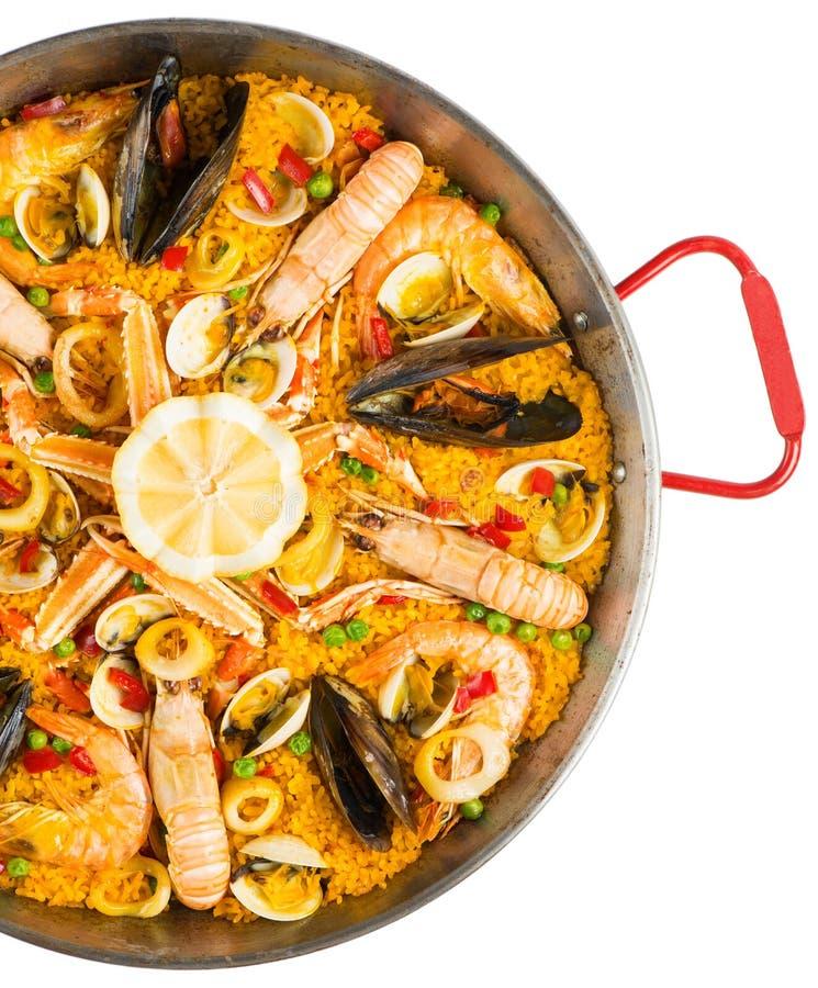 Paella - alimento espanhol tradicional, vista superior fotos de stock royalty free