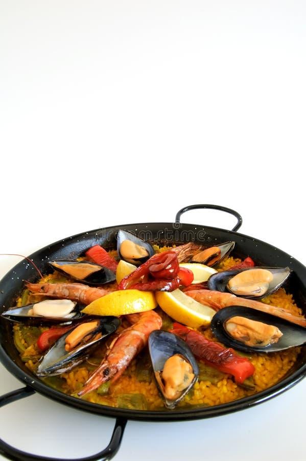 Paella - arroz espanhol tradicional imagem de stock