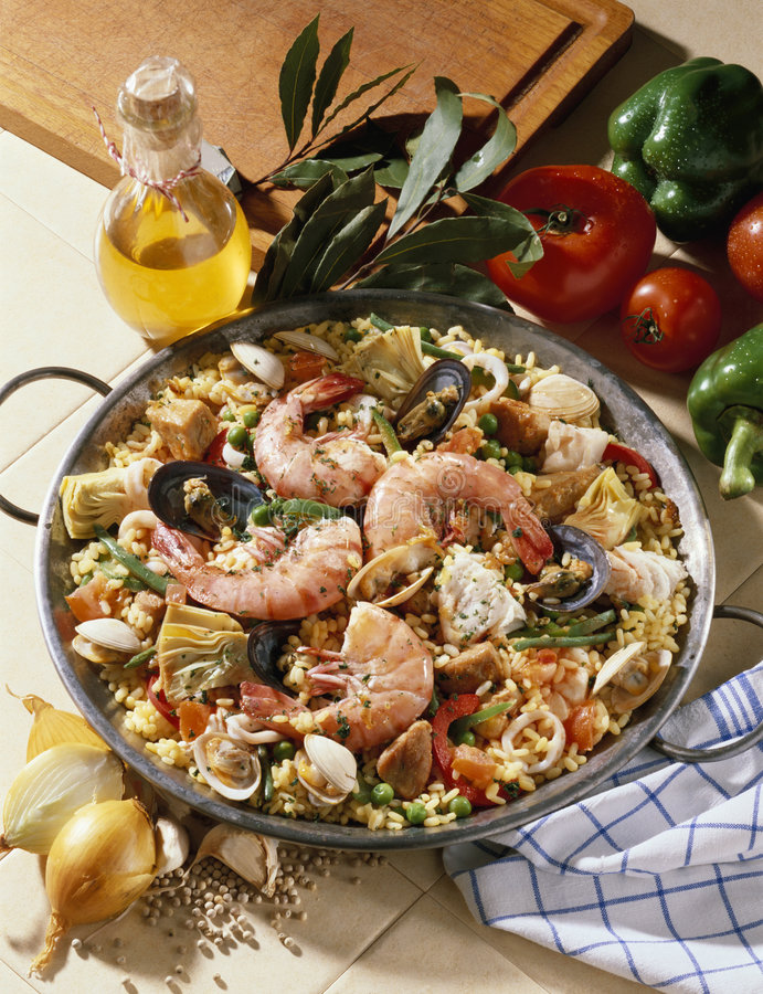 Download Paella catalana stock image. Image of savoury, rice, 154229 - 7675117