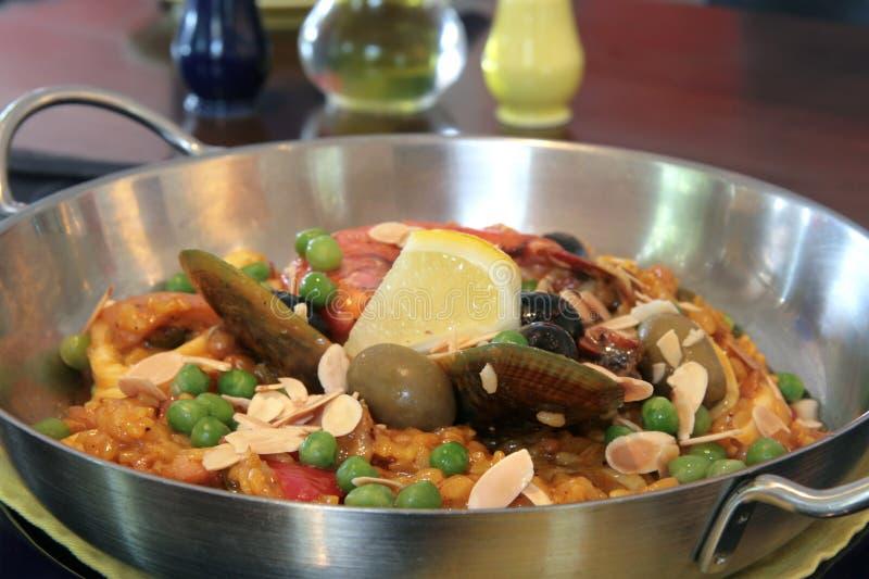 Paella dei frutti di mare fotografia stock