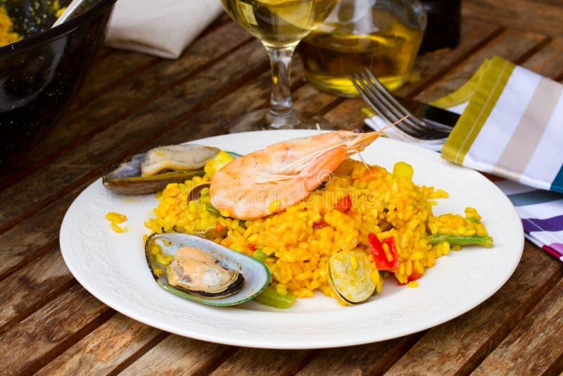 Paella di Seafoof fotografia stock libera da diritti