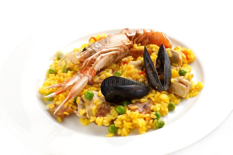 Paella español tradicional del alimento foto de archivo
