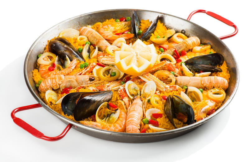 Paella espanhol com marisco imagens de stock royalty free