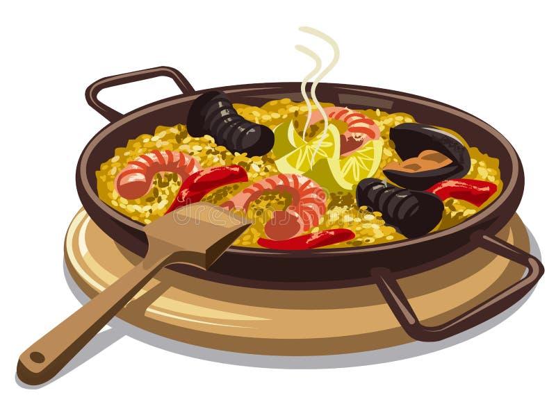Paella espanhol do alimento ilustração stock