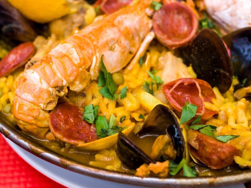 Paella espanhol do alimento de Traditionnal fotografia de stock