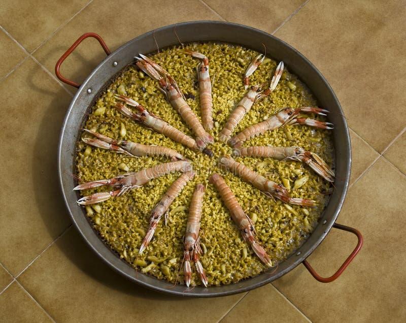 Paella espanhol do marisco fotos de stock