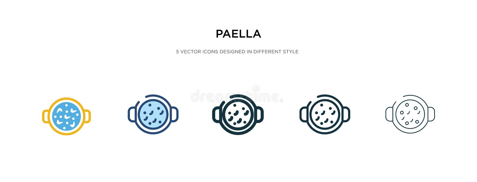 Paella icon in different style vector illustration. two colored and black paella vector icons designed in filled, outline, line. And stroke style can be used royalty free illustration
