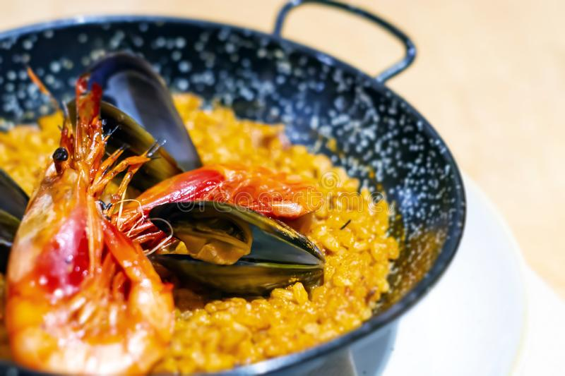 Paella with mariscos, a typical dish of traditional Spanish cuisine based on seafood and rice stock photos