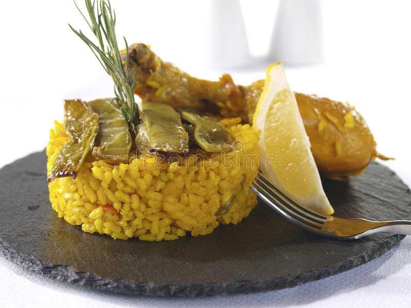 Paella Menu in a Restaurant. Traditional Valencian Dish. The Paella is the most worldwide well-known Valencian dish, but the gastronomy in this Spanish Region royalty free stock photo