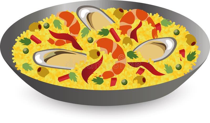 Paella met zeevruchten: garnalen, oesters in pan Traditionele Spaanse schotel royalty-vrije illustratie