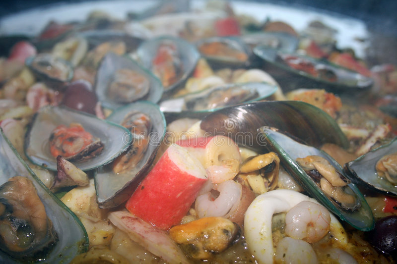 Paella: Mixed Seafood royalty free stock images