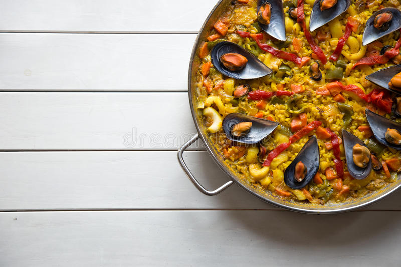 Paella with mussels stock photo