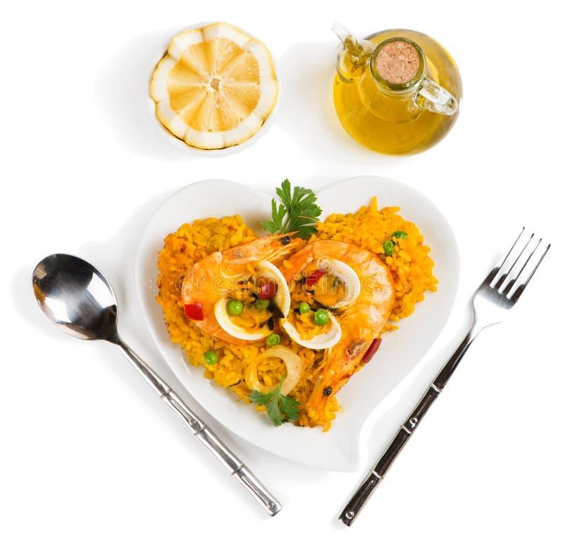 Paella - ovannämnd sikt för traditionell spansk mat arkivbild