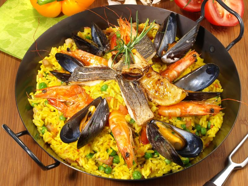 Paella in a Pan. On wooden Background stock photography