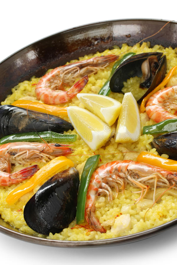 Paella, prato do arroz espanhol foto de stock