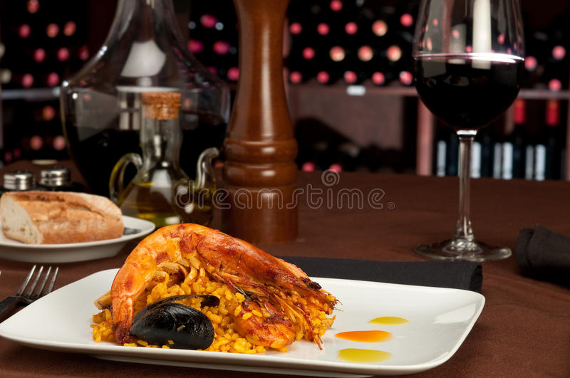 Paella in restaurant royalty free stock photos
