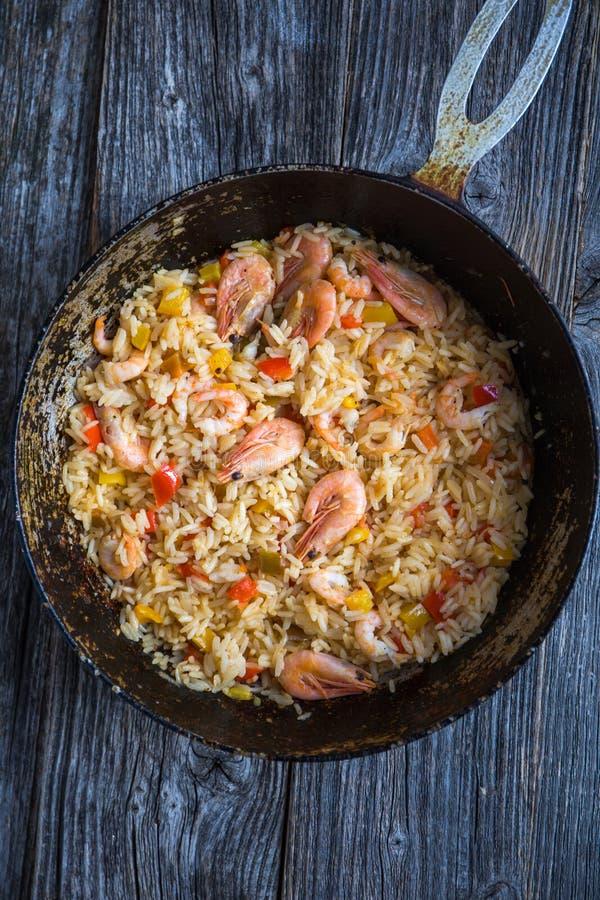 Paella rice with prawns stock photo