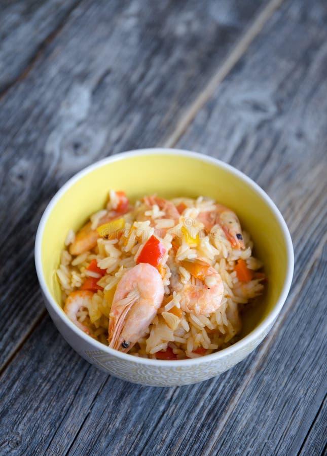 Paella rice with prawns royalty free stock image