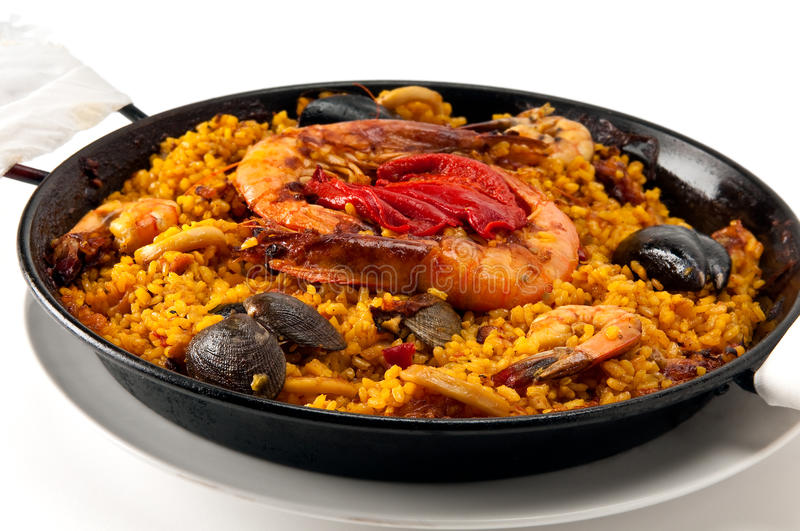 Paella Seafood. Tradition Seafood Spanish Paella in Pan, this is a typical spanish dish stock photography