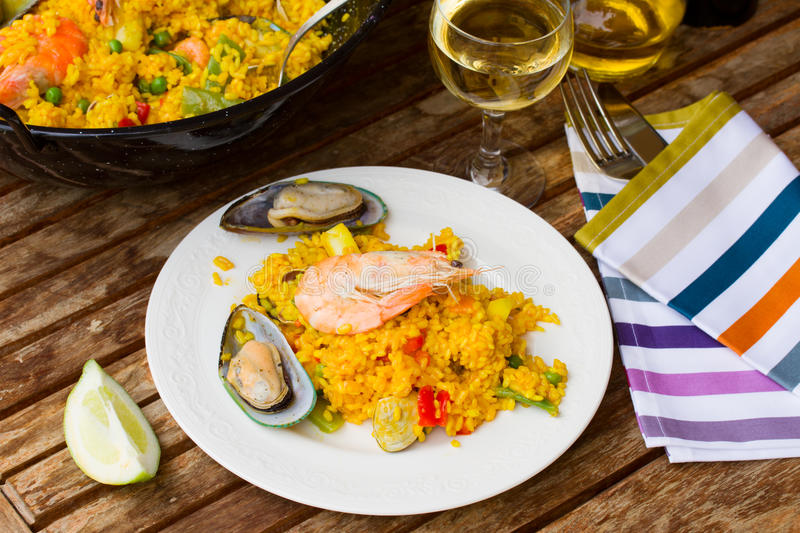 Download Paella served in plate stock image. Image of cuisine - 31369509