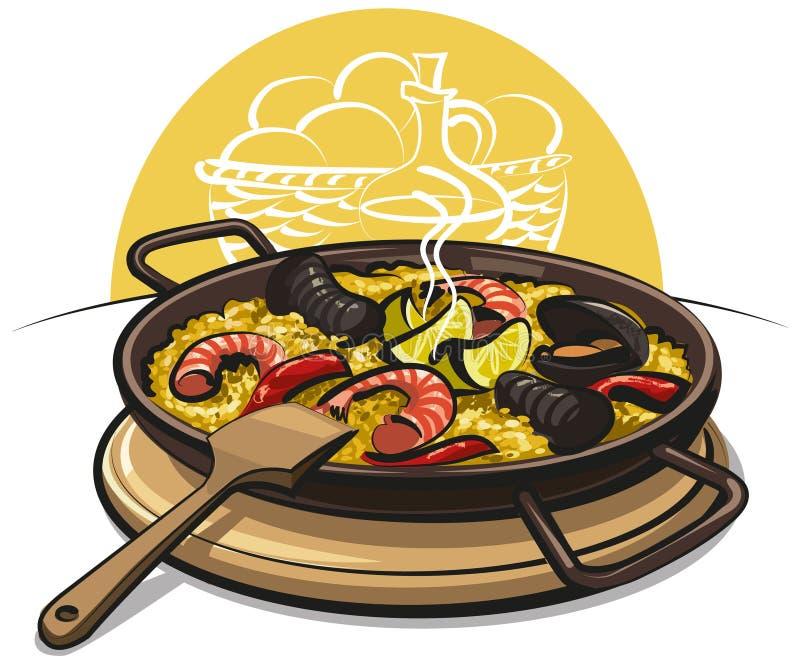 paella spanish ilustracji