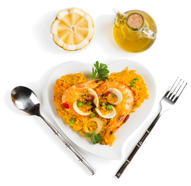 Paella - traditional spanish food above view stock photography