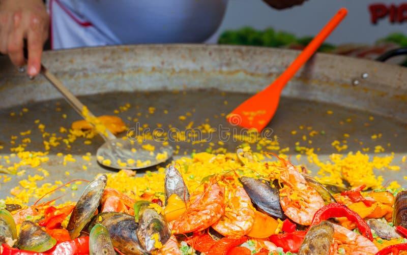 Paella Valenciana. Close up of delicious seafood paella Valenciana royalty free stock photography