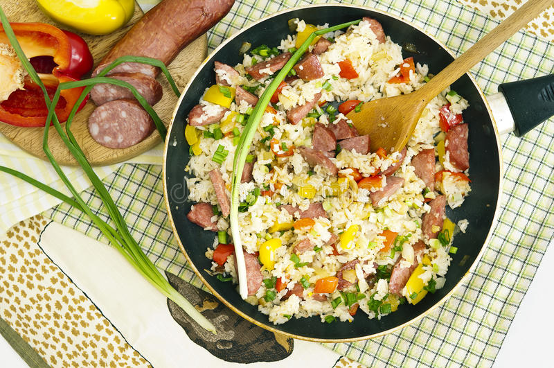 Paella with vegetables stock photo