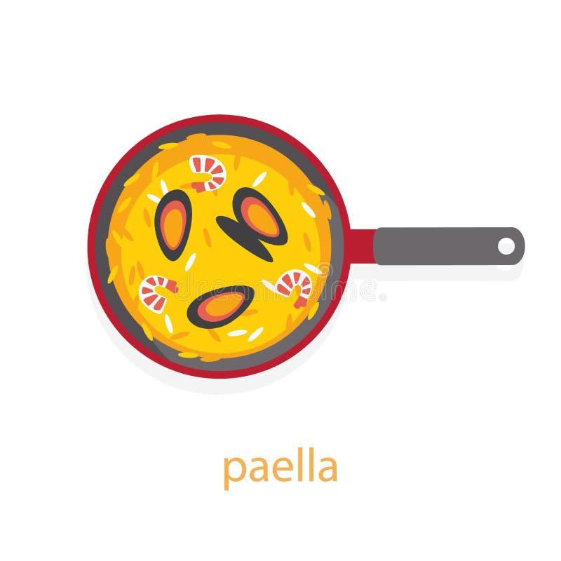 Paella z owoce morza ilustracji