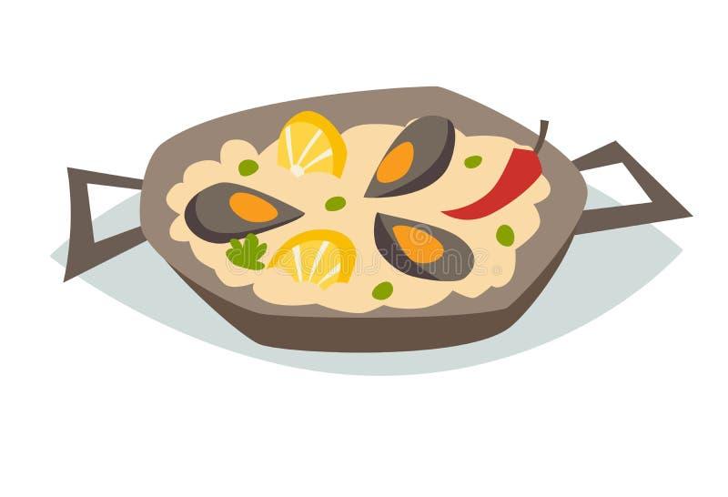 Paella z owoce morza wektoru ilustracją Tradycyjny Hiszpański Jedzenie ilustracji