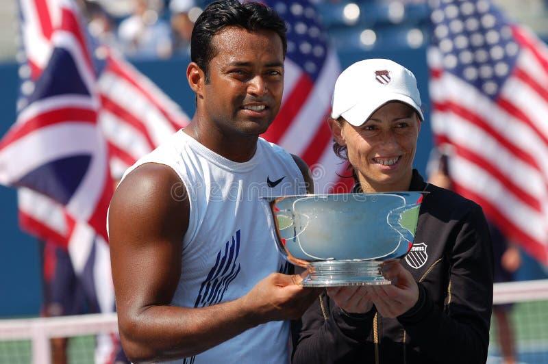 Paes et champions mélangés par noir USA ouvrent 2008 (6) photos stock