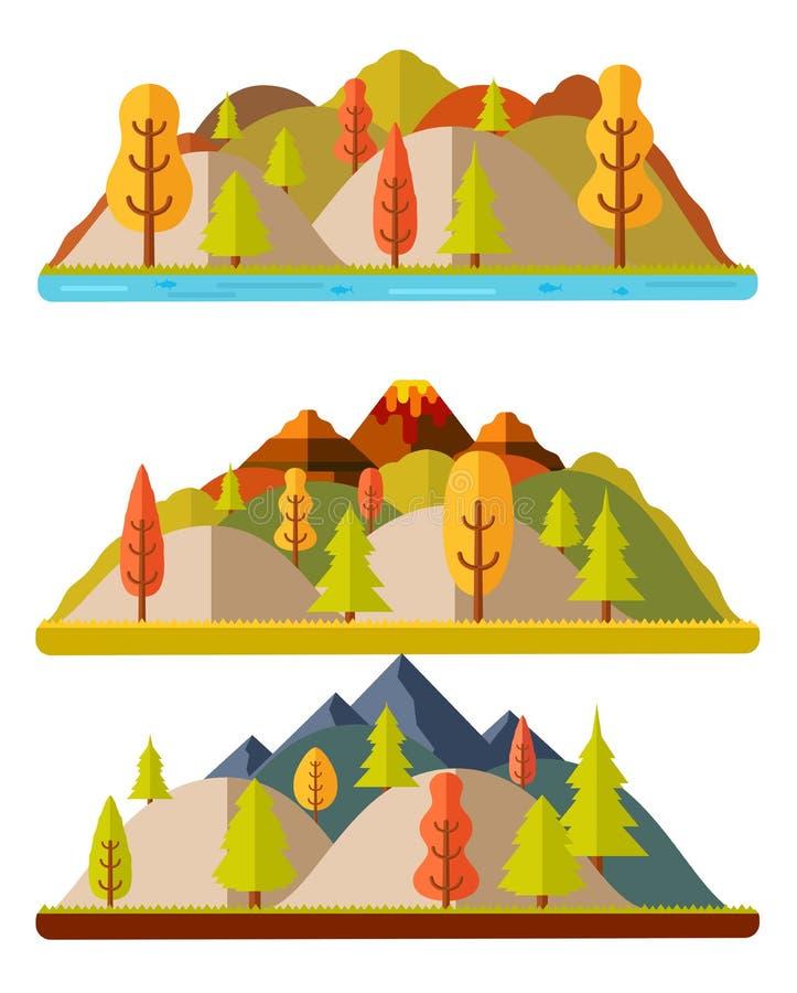 Paesaggi, colline e montagne della natura di autunno illustrazione di stock