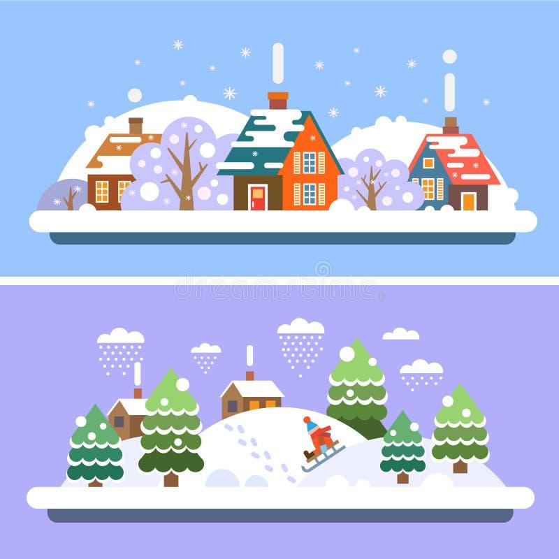 Paesaggi del villaggio di inverno illustrazione vettoriale