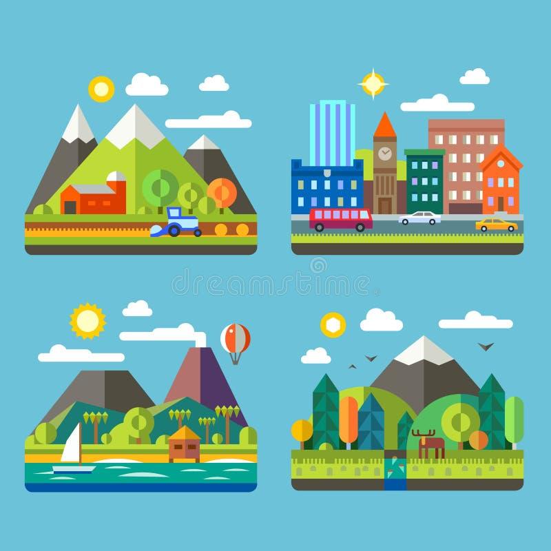 Paesaggi del villaggio e di urbani illustrazione di stock