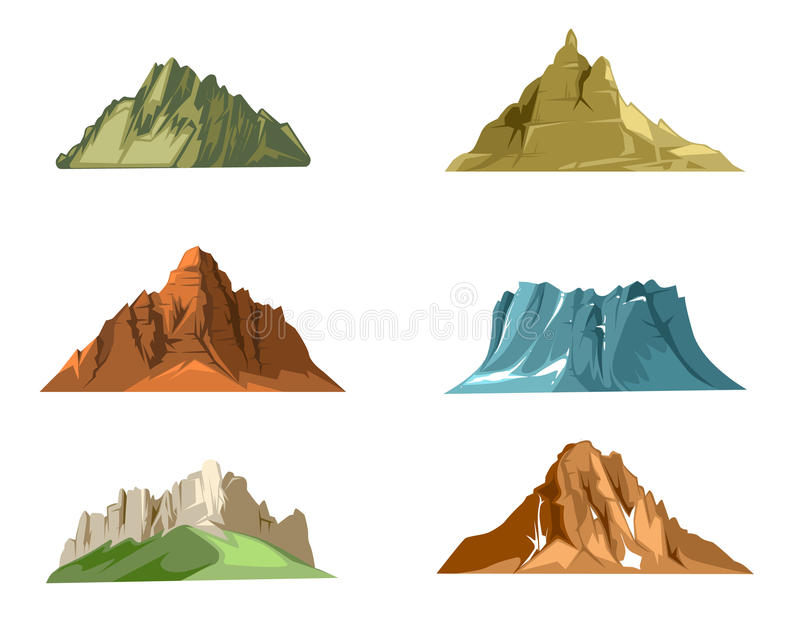 Paesaggi della natura con l'insieme di vettore del fumetto delle montagne della neve e delle colline verdi illustrazione vettoriale