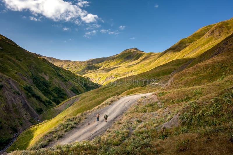 Paesaggi della regione superiore di Khevsureti in Georgia fotografia stock