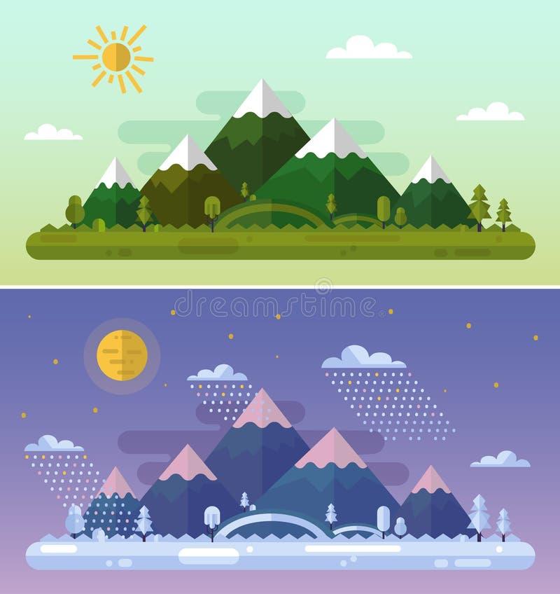 Paesaggi di inverno e di estate royalty illustrazione gratis