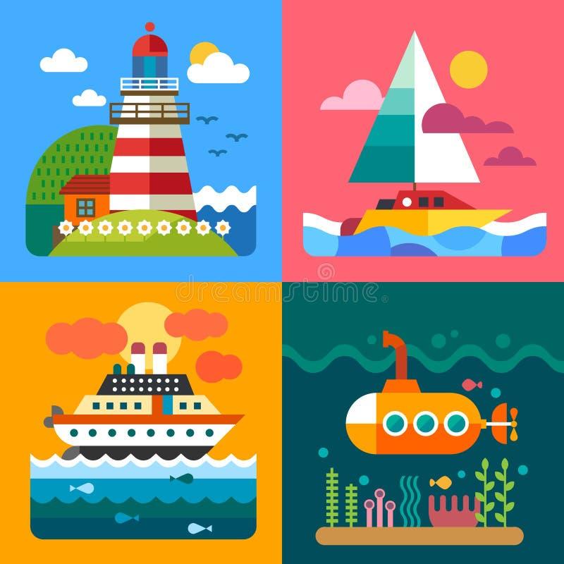 Paesaggi differenti del mare illustrazione vettoriale